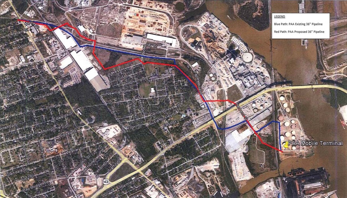 The Alabama Public Service Commission will hold a public proceeding Monday, Oct. 28 to hear comments about a proposed 2.2-mile pipeline replacement. In the image above, Plains Mobile, Inc. proposes to replace an existing 36-inch petroleum pipeline (blue) with a new one (red).