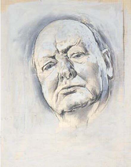 'Study of William Churchill - Head' by Graham Vivian Sutherland, 1954.