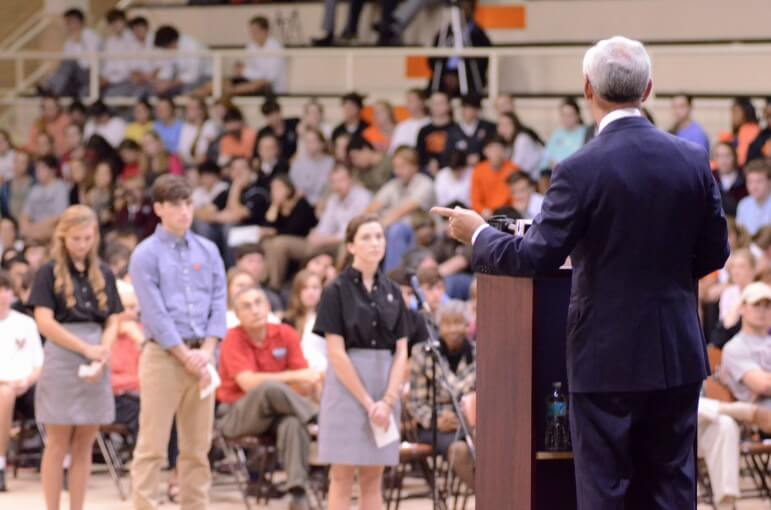 Republican congressional candidate Bradley Byrne fields a question from students of McGill-Toolen Catholic High School in Mobile, Ala. Dec. 4.