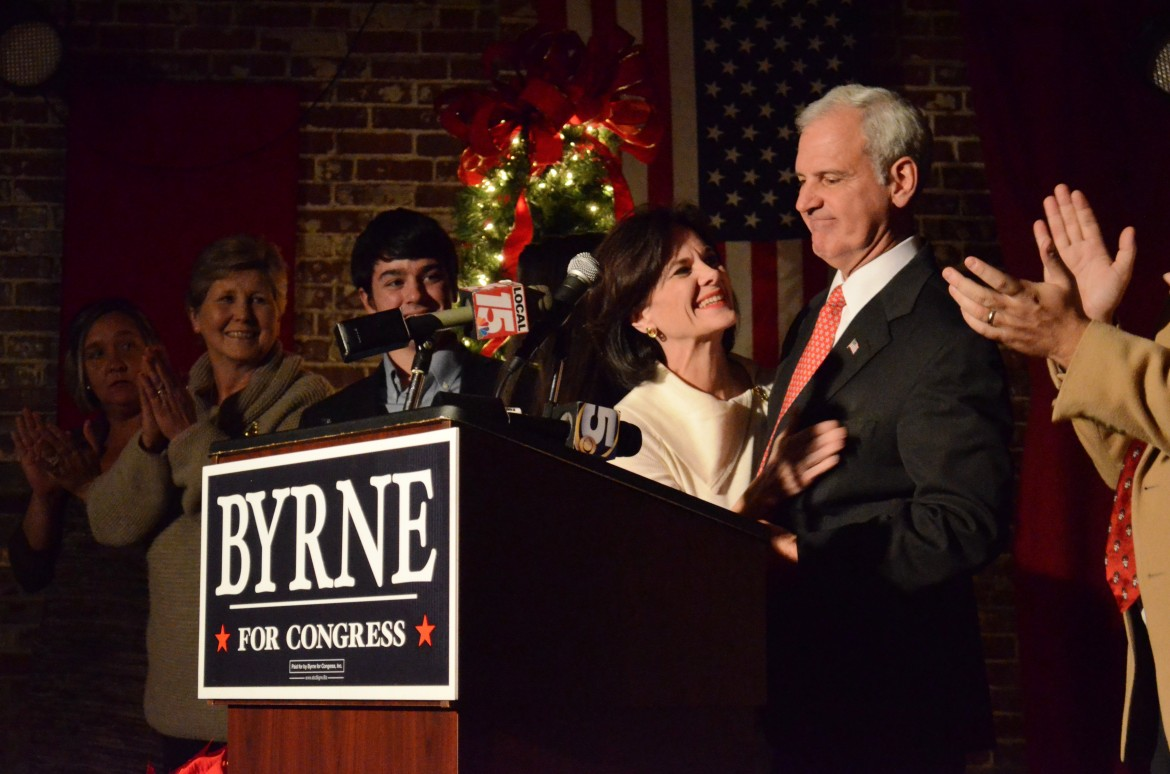 Congressman-elect Bradley Byrne is congratulated by his wife Rebecca and family members at his victory party Dec. 17 in Mobile. Byrne campaigned for more than six months, emerging from a field of nine Republican candidates, to beat Burton LeFlore in the general election for Alabama's District 1.