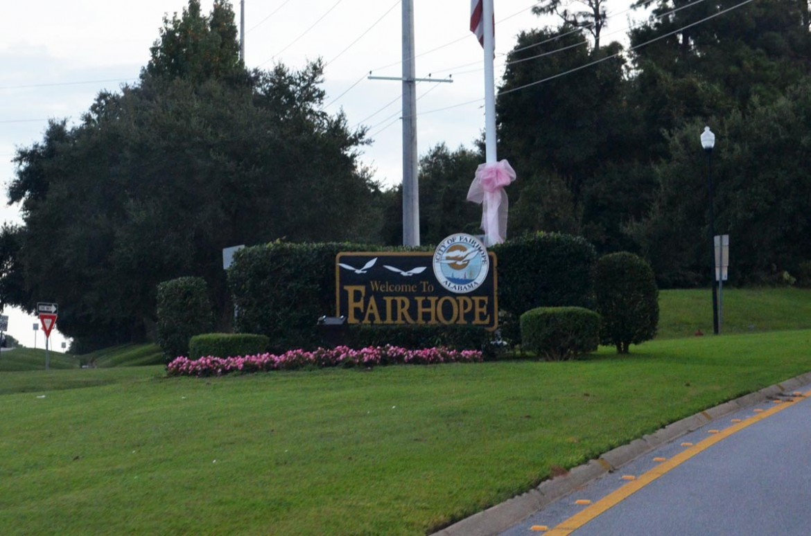 """The Dyas Triangle, a 108-acre property on either side of Veteran's Drive behind the """"Welcome to Fairhope"""" sign, is the subject of a $8.75 million legal settlement with a Dec. 31 deadline."""