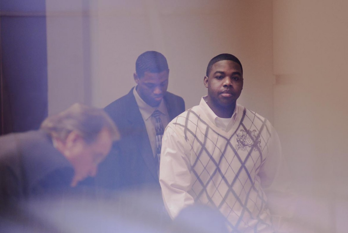 Trayon Washington (foreground) and his codefendant and half brother Pat Brown were both convicted of murder in the shooting death of Wendy FIsher July, 7, 2012.