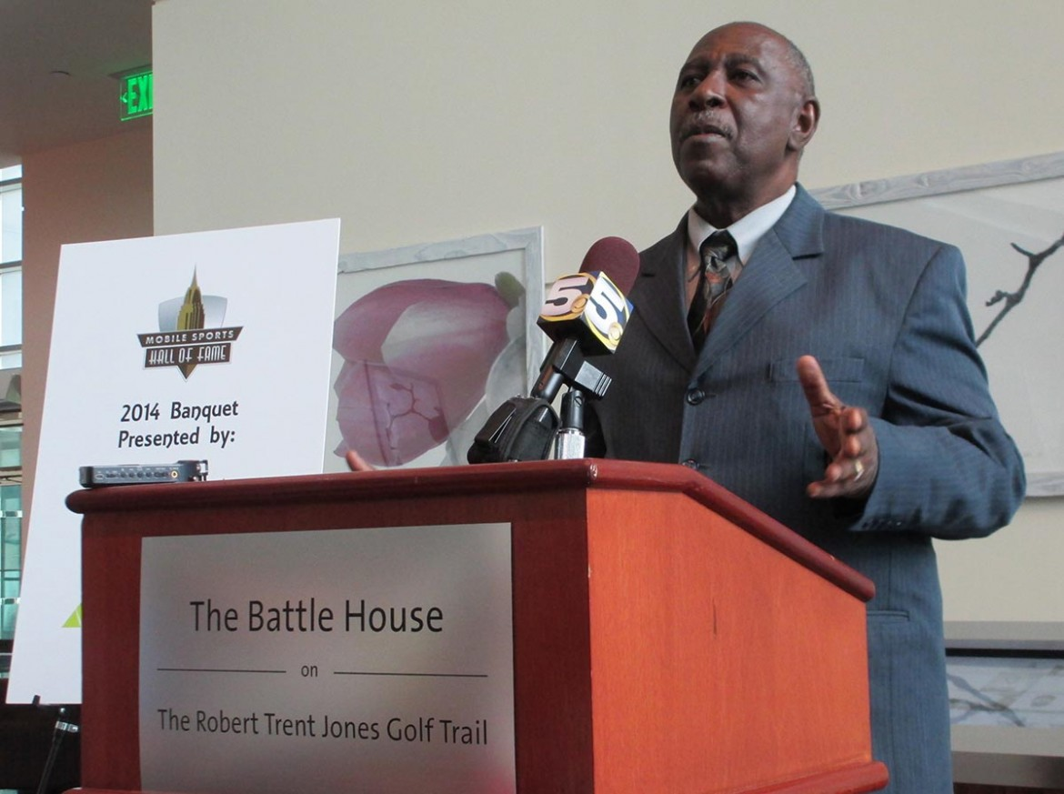 """Sam Pettaway, the successful track coach at Davidson High School, is one of the new inductees to the Mobile Sports Hall of Fame. """"It is amazing that a little guy who grew up in Trinity Gardens would be standing here today,"""" Pettaway told the crowd at the RSA Battle House Tower in downtown Mobile."""