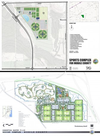 County Commissioner Jerry Carl said his plan for a multi-field soccer complex (top) would cost $7 million less than a proposal by County Commissioner Connie Hudson, which is tagged at $12 million but is closer to downtown.