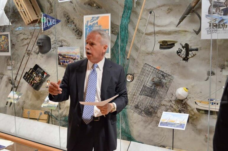 LAGNIAPPE | Tony Zodrow, executive director of GulfQuest, discusses a geographical display as GulfQuest exhibits were being installed in April 2014.
