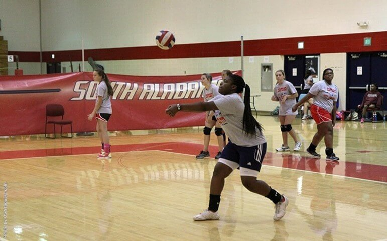 Many local colleges will be offering sports camps this summer, like this one for volleyball at the University of South Alabama.