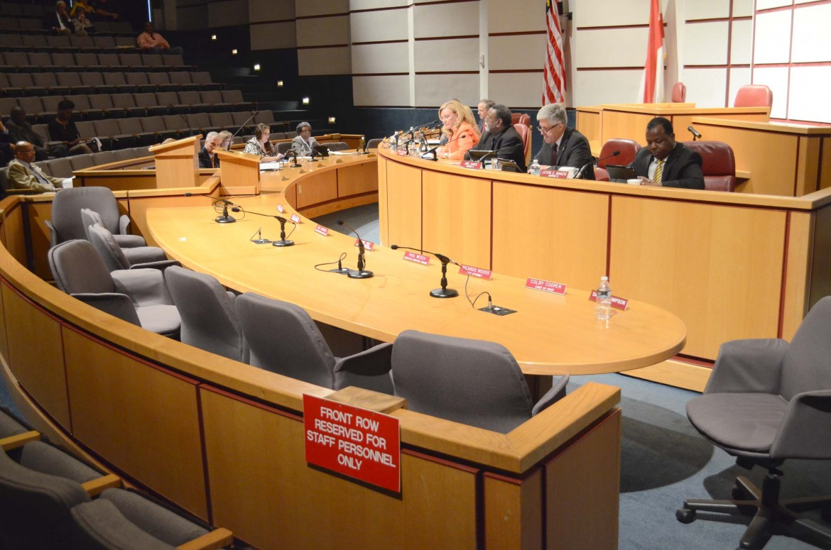 A table reserved for the mayor's administration is vacant after Stimpson walked out of the May 13 city council meeting.