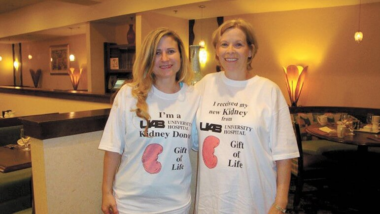 After tracking down her birth mother in Mobile, Liz Story (left) would eventually donate a kidney to her birth mother's sister, Nell Gustavson.