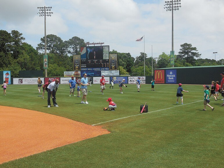 Sunday Fun Day takes place throughout the season at home games for Mobile BayBears. Fans are invited to play catch on the field pre-gram for the first 30 minutes after the gates open.