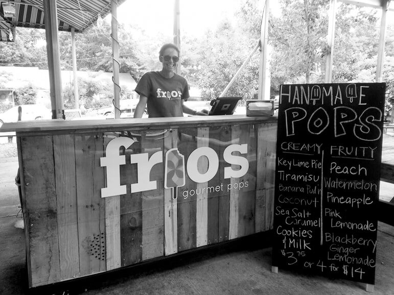 Kari Benson (above), owner of Frios, a new gourmet pops stand in Fairhope, offers up such flavors as Key Lime Pie and Watermelon.