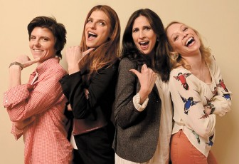 Lake Bell (second from left) wrote and stars as a struggling female voice-over artist.