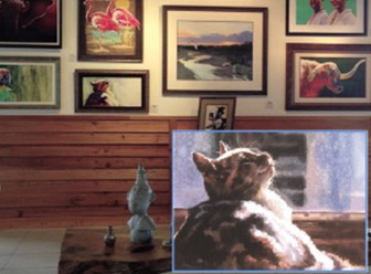 A Bill Morris watercolor displayed at The Compleat Studio is suspected to be a reproduction of a piece by Oakland, Calif. artist Karen Frey (inset).