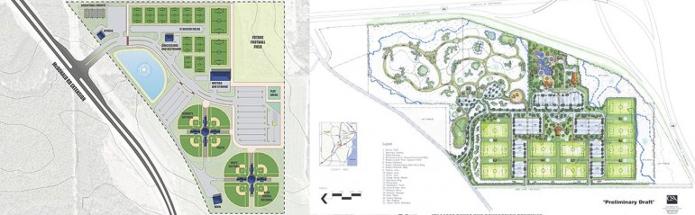 Competing plans for a soccer facility in Mobile County will either establish the park off McDonald Road Extension in Irvington or in a wooded and wetland area near the intersection of I-10 and I-65. After adding a water park and indoor pool to her proposal, Commission President Connie Hudson's estimate ballooned from $12 million to $40 million.