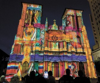 "Xavier de Richemont's ""The Saga"" lightshow on the San Fernando Cathedral in San Antonio, Texas."