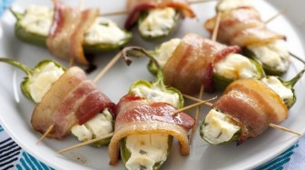 Bacon wrapped jalapenos are an easy Labor Day  appetizer for the grill.