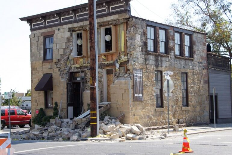A building in downtown Napa partially collapsed after a magnitude 6.0 earthquake Aug. 24.