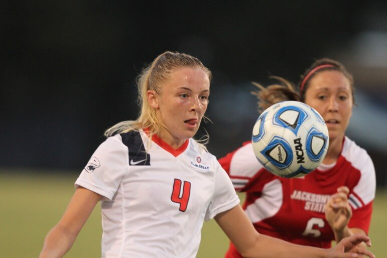 South Alabama's Emily Farrell (4) plays against Jacksonville State at The Cage in Mobile, Ala., Friday, August 15, 2014. She is one of several international members of the USA roster.