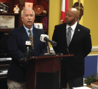 (Left) Newly appointed Prichard Director of Public Safety Michael Rowland and (Right) Prichard Mayor Troy Ephriam