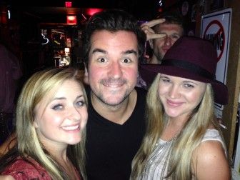 Singers Cary Laine, left, and Holli Mosley partied with members of Scars on 45 at Veet's last week.