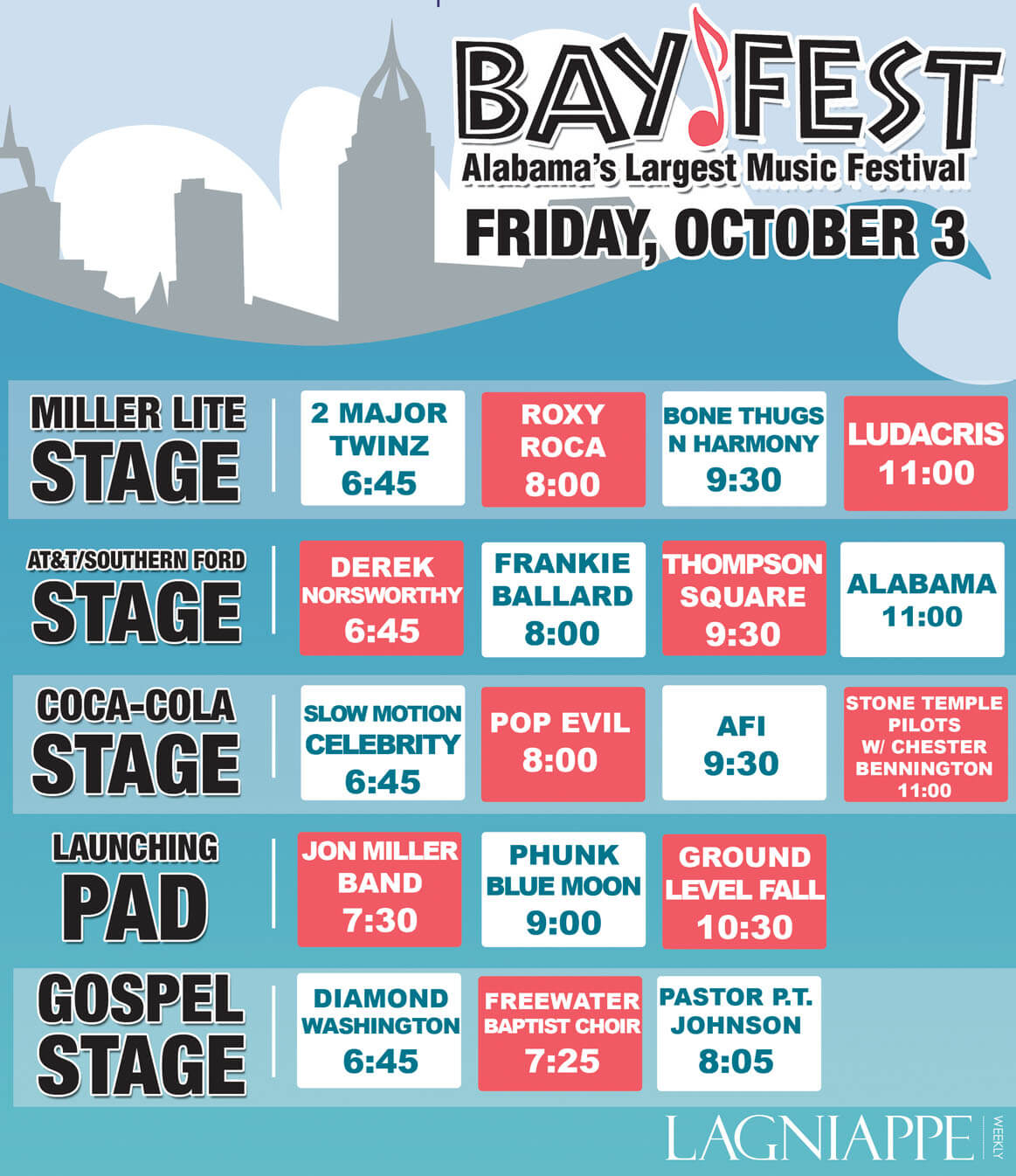 BayFest: Friday, Oct. 3 – Bios