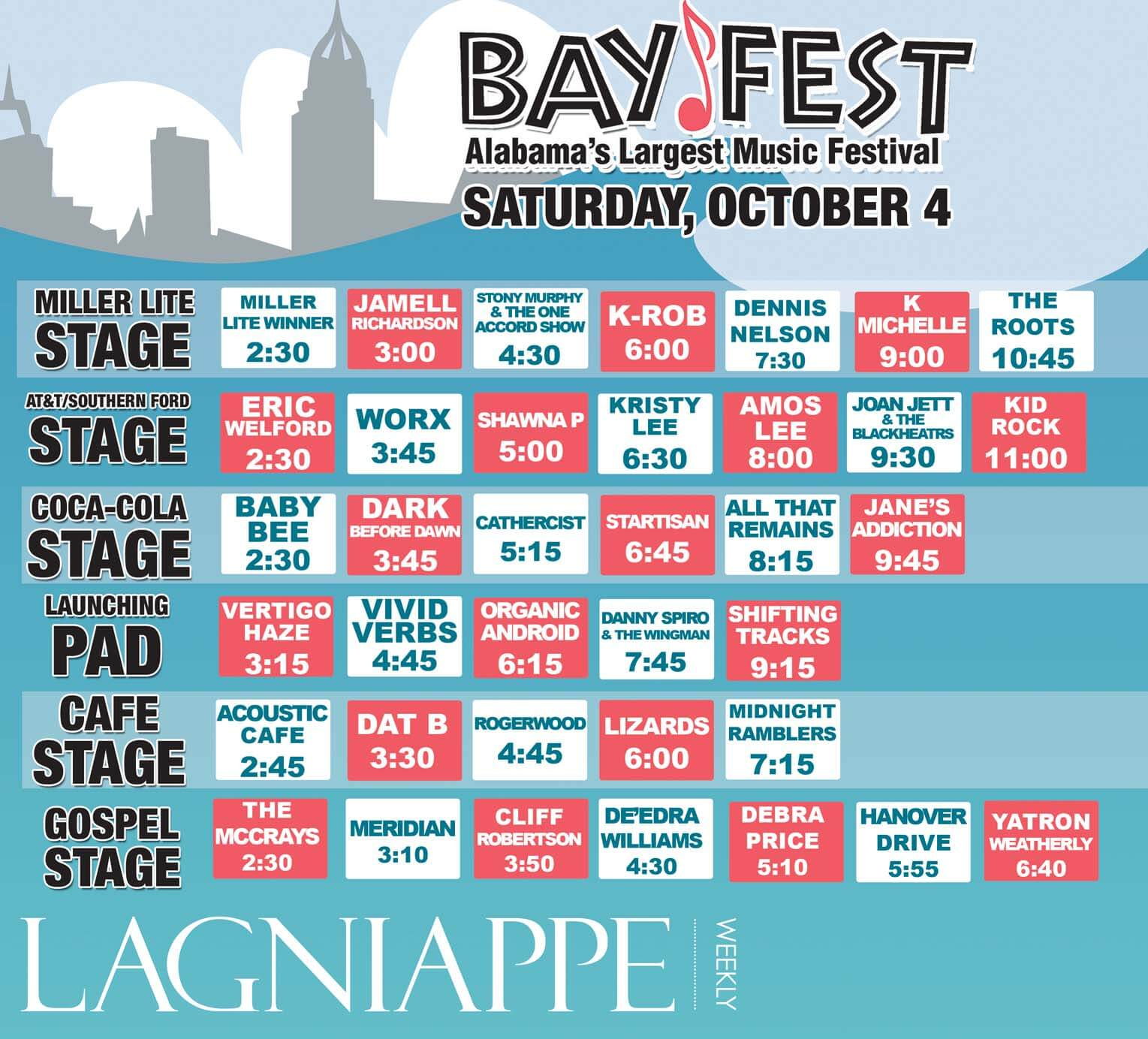 BayFest: Saturday, Oct. 4 – Bios