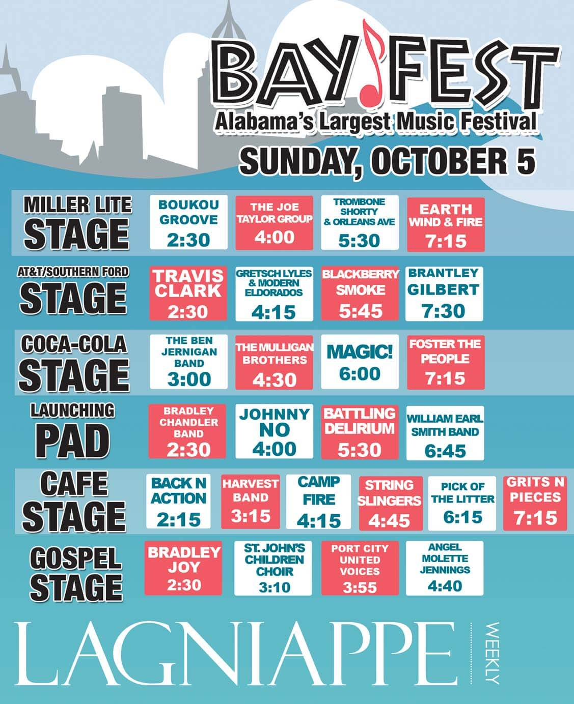 BayFest: Sunday, Oct. 5 – Bios