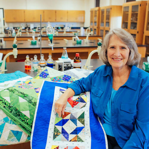 Mobile professor's quilts in campus show