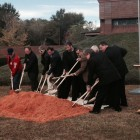 Commissioners from the Mobile County Communications District and Harris Communications representatives break ground on a $40 million emergency communications project Nov. 18, 2014.