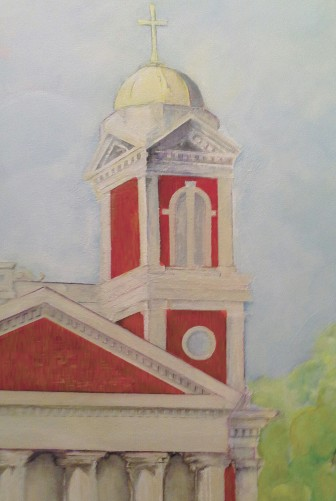 A detail of Yevette Ward's sizable painting of the Cathedral of the Immaculate Conception on display at Optera Creative in December.