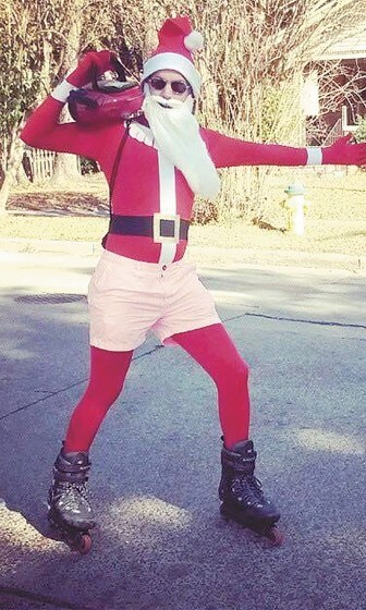 """Santa"" rollerblades through MiMo and OGD."