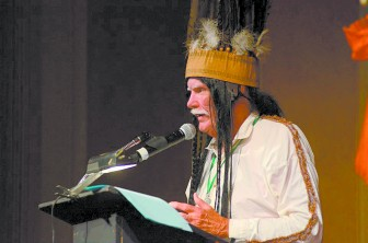 Wayne Dean portrays Chief Slac at the 2013 Nappie Awards.