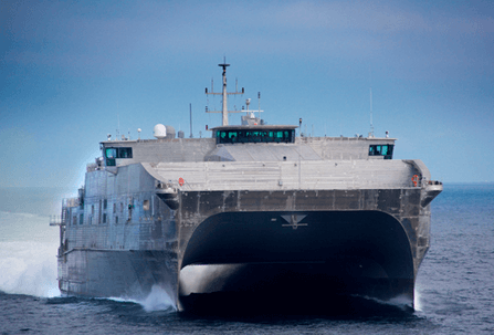 The Joint High Speed Vessel (JHSV) is was one of two Navy ships currently being assembled at Austal's U.S. shipyard in Mobile.