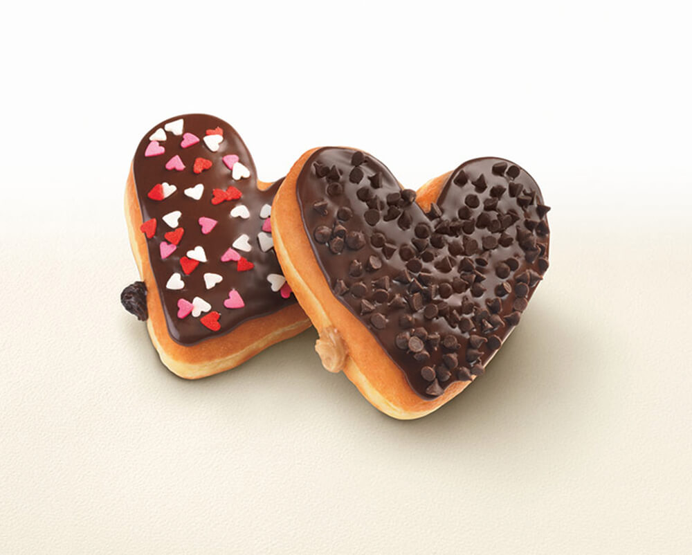 Get into the spirit with Dunkin's heart-shaped donuts