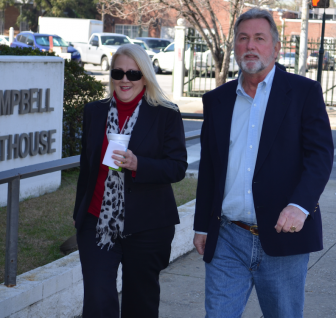 License Commissioner Kim Hastie and her husband, John Melvin Hastie Jr., arrive at Mobile's federal courthouse for an arraignment, Feb. 11.