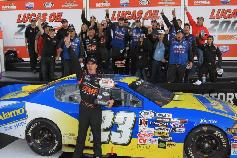 "Fairhope's Grant Enfinger celebrated his second straight victory in Daytona Feb. 14. He'll return to the Mobile International Speedway March 14 to take on Thomas ""Moose"" Praytor and other circuit drivers."
