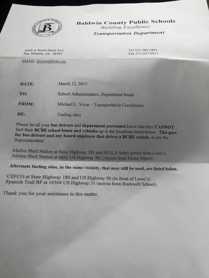 Letter sent by Baldwin County Public Schools Transportation Department on March 12.
