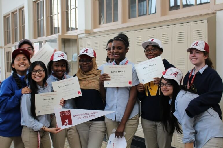 """Murphy High School sophomores participate in Academic Signing Day — each publicly signing up for a """"one-of-a-kind"""" partnership with the University of Alabama Early College."""