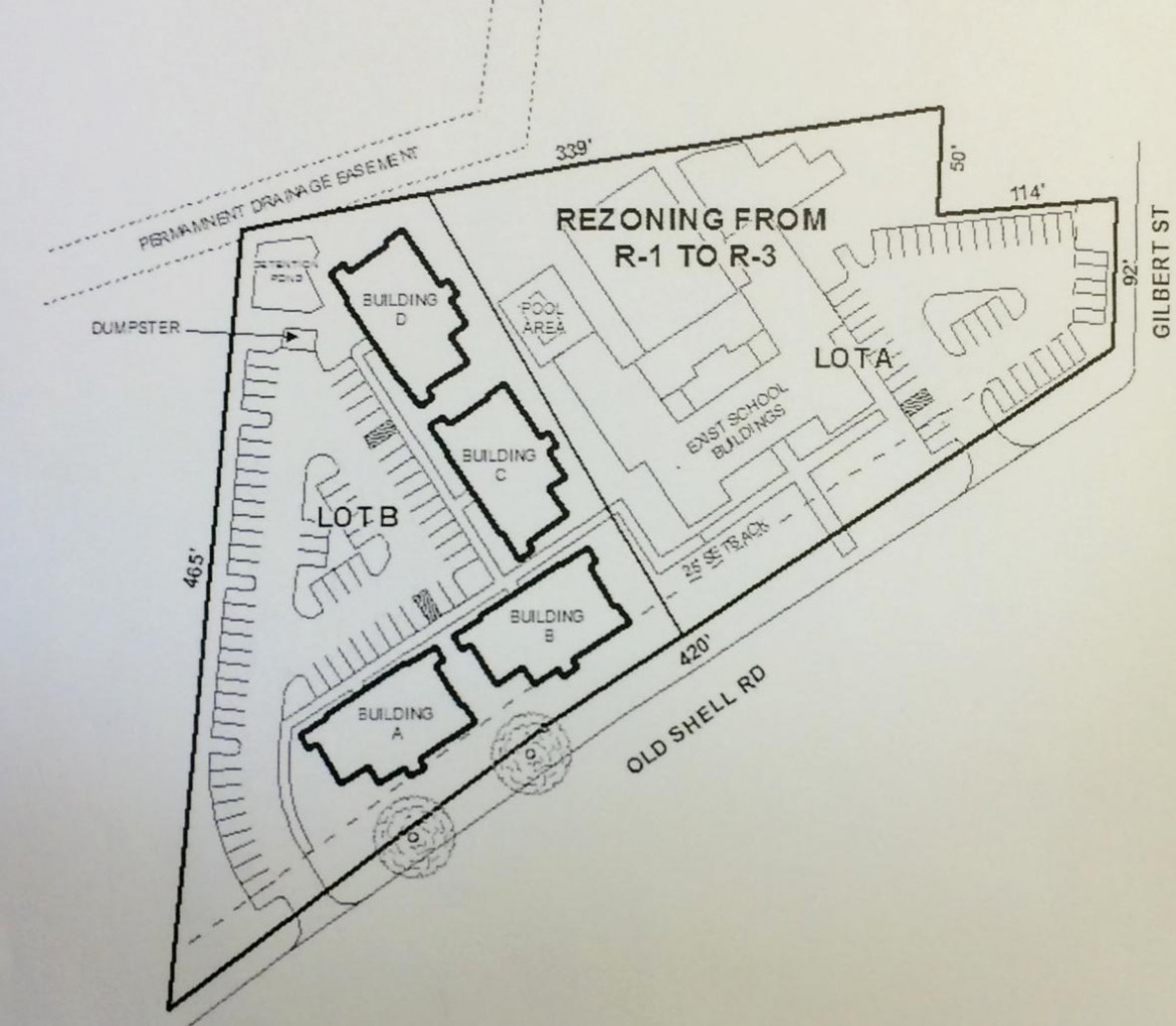 A site plan for a residential redevelopment of the former Old Shell Road School depicts four new buildings in a vacant lot next to the existing school.