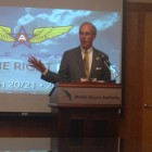 Mobile Mayor Sandy Stimpson speaks during an AeroFest press conference on Thursday.
