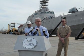 Sen. Jeff Sessions visited Austal earlier this year.