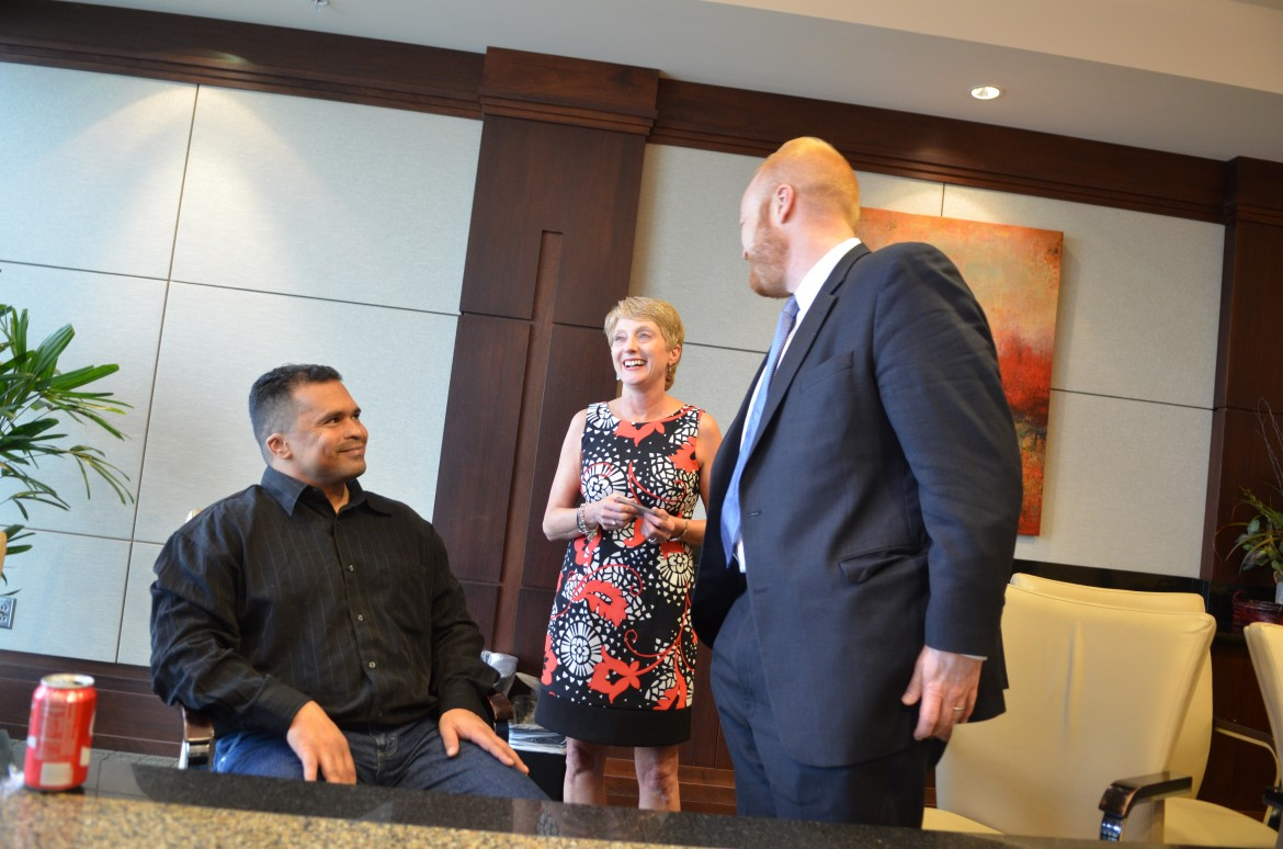 William Ziegler shares a light moment with attorney Nick Lagemann of Sidley Austin LLP and legal secretary Carol Oates of Hand Arendall, who e-filed many of the briefs in his case.