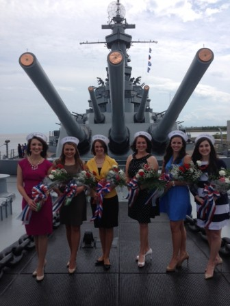 Selected by a panel of judges, these six young ladies will serve as the 48th group of Crewmates for the USS ALABMA Battleship Memorial Park.  Pictured from left to right are Haley Ikner, Brooklyn Lynch, Stephanie Moye, Olivia England, Makenzie Dunning, and Katelyn Laughlin.  These ladies will represent Battleship Memorial Park and the State of Alabama.