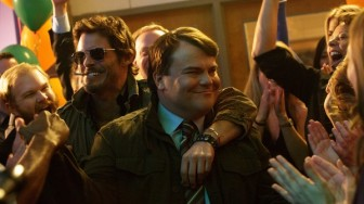 "James Marsden and Jack Black have a complicated relationship in ""The D Train."""