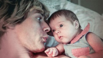 "The late musician Kurt Cobain, pictured here with his only child, is examined in the authorized documentary ""Montage of Heck."""