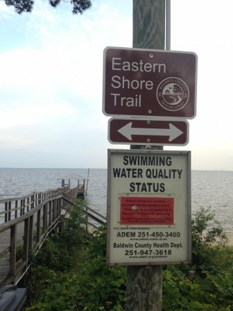 The Alabama Department of Environmental Management posted this notice at the public beach near the Orange Street pier warning swimmers of possible bacteria in the water.