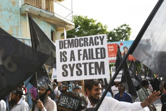 Protesters in the Maldives call for Sharia Law in 2014.