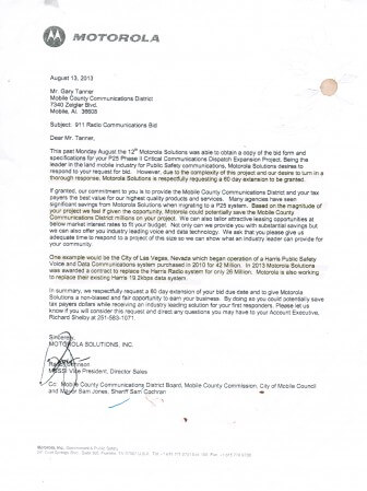 A 2013 letter from a Motorola executive shows the company attempted to submit a bid for the 2013 radio enhancment project in Mobile County.
