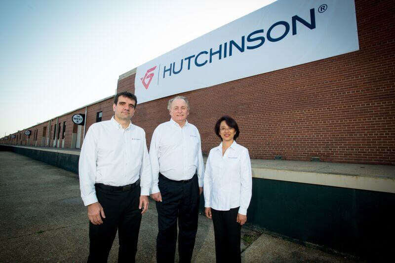 Pierre Acker, vice president, operations, Hutchinson Aerospace - Burbank, stands with Grant Hintze, executive vice president, Hutchinson Aerospace - North America and Helen Wang, director of manufacturing and engineering. The corporation will open a facility at Brookley Aeroplex in Mobile later this year.