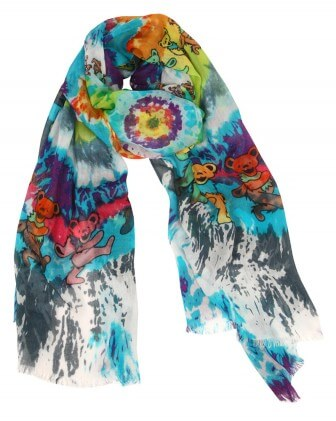 "The ""Dancing Bears"" scarf is one of many Grateful Dead-themed designs from the Grateful Girls."