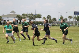 Mobile's female  rugby team participates in the Seersucker Sevens tournament at Battleship Memorial Park.